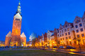 Old town of elblag at night in poland Stock Images