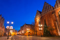 Old town of elblag at night in poland Royalty Free Stock Images