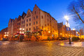 Old town of elblag at night in poland Stock Photography