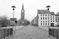 Old town of elblag poland in black and white Royalty Free Stock Image