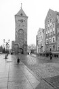 Old town of elblag poland in black and white Stock Image