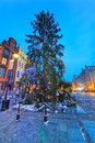Old town of gdanks with christmas tree poland Stock Images