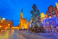 Old town of gdanks with christmas tree poland Stock Image