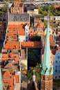 Old town in gdansk from above view over the of poland on the first plan church of the blessed virgin mary spire Royalty Free Stock Image