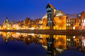 Old town of Gdansk with ancient crane at night Royalty Free Stock Photo