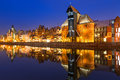 Old town of gdansk with ancient crane at night poland Stock Photos