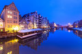 Old town of Gdansk at night Royalty Free Stock Images