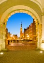 Old town of gdansk at night poland Royalty Free Stock Photo