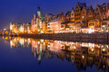 Old town of gdansk at night poland Stock Image