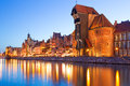 Old town of gdansk at night in poland with ancient crane Royalty Free Stock Photography