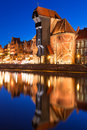 Old town of gdansk at night in poland with ancient crane Stock Photography