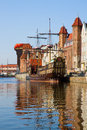 Old town gdansk over river motlawa poland Royalty Free Stock Photography
