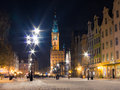 Old town gdansk poland europe winter night hall of the main city polish ratusz in danzig built in gothic and renaissance Royalty Free Stock Photography