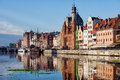 Old town of gdansk in poland skyline the morning by the motlawa river Royalty Free Stock Photography