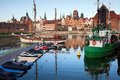 Old town of gdansk skyline and marina view from the city by the motlawa river in poland Stock Photo