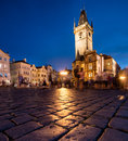 Old town hall in prague at night on market square Stock Image