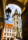 Old town hall stare mesto prague clock tower in the tower was added in in gothic style in the center of city of czech republic Stock Images