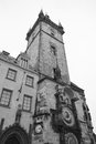 Old town hall tower in old town square in prague czech republic black and white Royalty Free Stock Photos