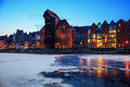 The old town and harbor in gdansk winter Stock Images