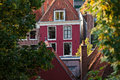 Old town house in the historic Dutch city Leiden Stock Photo