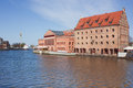 Old town houses and street cafes over motlawa river in gdansk p poland Stock Photos