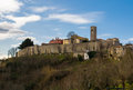Old town hum croatia photographed from local road at winter afternoon hours Royalty Free Stock Images