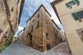 Old town in italy narrow street pienza tuscany Stock Photos