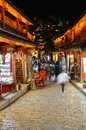 Old town of lijiang by night china Stock Image