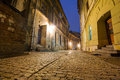 Old town of lublin at night poland Stock Image