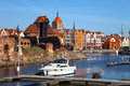 Old town and marina view over the river motlawa the in gdansk poland Royalty Free Stock Photography