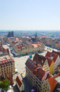 Old town market square from above cityscape wroclaw poland Stock Photo