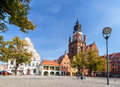 Old Town Market with St. Mary's Church (15th century), one of the biggest brick churches in Europe. Royalty Free Stock Photo