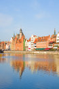 Old town over river motlawa gdansk poland Stock Images
