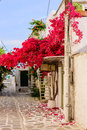 Old town of parikia paros island greece june street in the in june paros island cyclades greece Royalty Free Stock Images