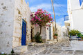 Old town of parikia street in the paros island cyclades greece Royalty Free Stock Photo