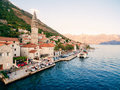 The old town of Perast on the shore of Kotor Bay, Montenegro. Th Royalty Free Stock Photo