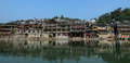 Old town of phoenix fenghuang ancient town many houses at the the popular tourist attraction which is located in county Stock Photo
