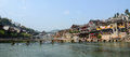 Old town of phoenix fenghuang ancient town panorama view the popular tourist attraction which is located in county Royalty Free Stock Images