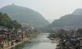 Old town of phoenix fenghuang ancient town view with mountain background the popular tourist attraction which is located in Royalty Free Stock Photography