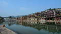 Old town of phoenix fenghuang ancient town view the river at the popular tourist attraction which is located in Royalty Free Stock Photo