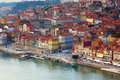 Old town of porto close up portugal hill with at sunset Stock Photos