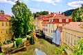 Old town prague canal through the of czech republic Stock Image