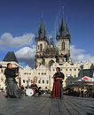 Old town prague unesco landmark a group of musicians in medieval clothes playing on the square in czech republic in the historical Stock Image