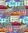 Old town roofs seamless pattern