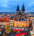 Old Town Square and Christmas market in Prague, Czech Republic. Royalty Free Stock Photo