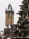 Old Town Square Clock Tower and the Christmas Tree Royalty Free Stock Photo