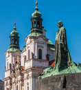 Old Town Square, Jan Hus monument Royalty Free Stock Photo