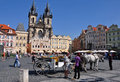 Old town square in prague with gothic style church our lady before tyn Royalty Free Stock Photos