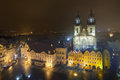 Old town square in prague at night with church of our lady before tyn Stock Photos