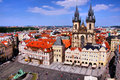 Old town square prague view of historic and castle czech republic Royalty Free Stock Photos